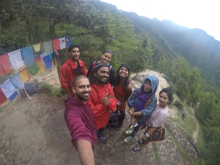 Group selfie at Tiger's Nest